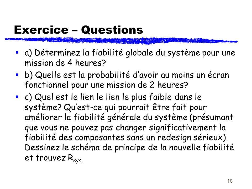 Exercice – Questions a) Déterminez la fiabilité globale du système pour une mission de 4 heures