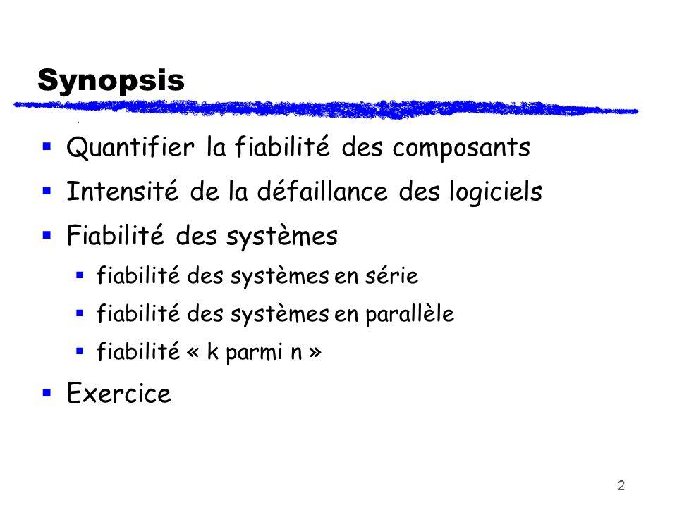 Synopsis Quantifier la fiabilité des composants