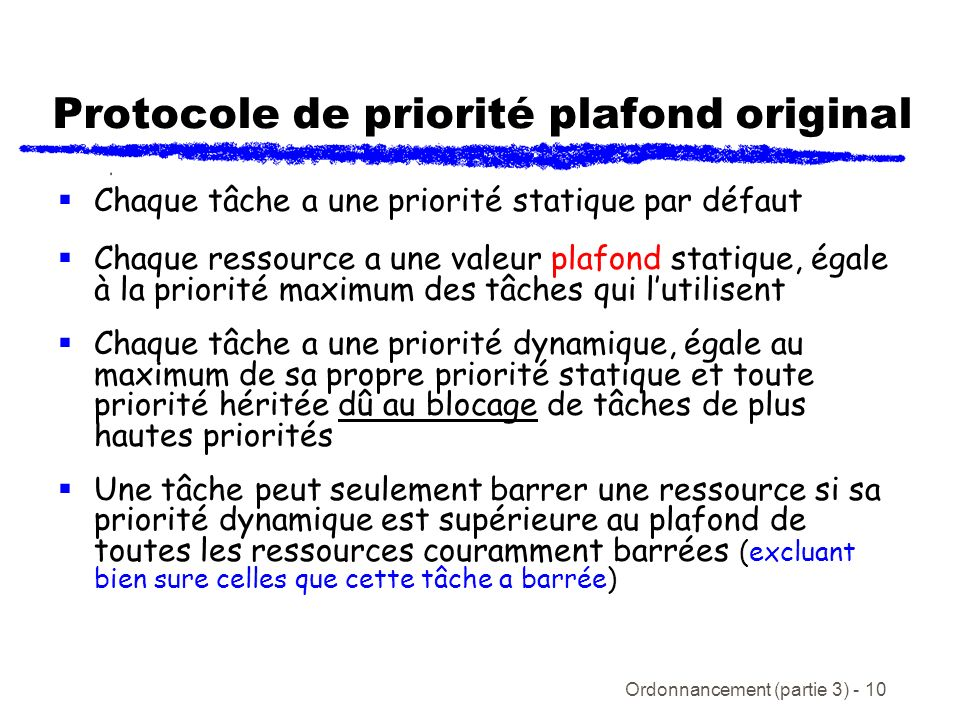 Protocole de priorité plafond original