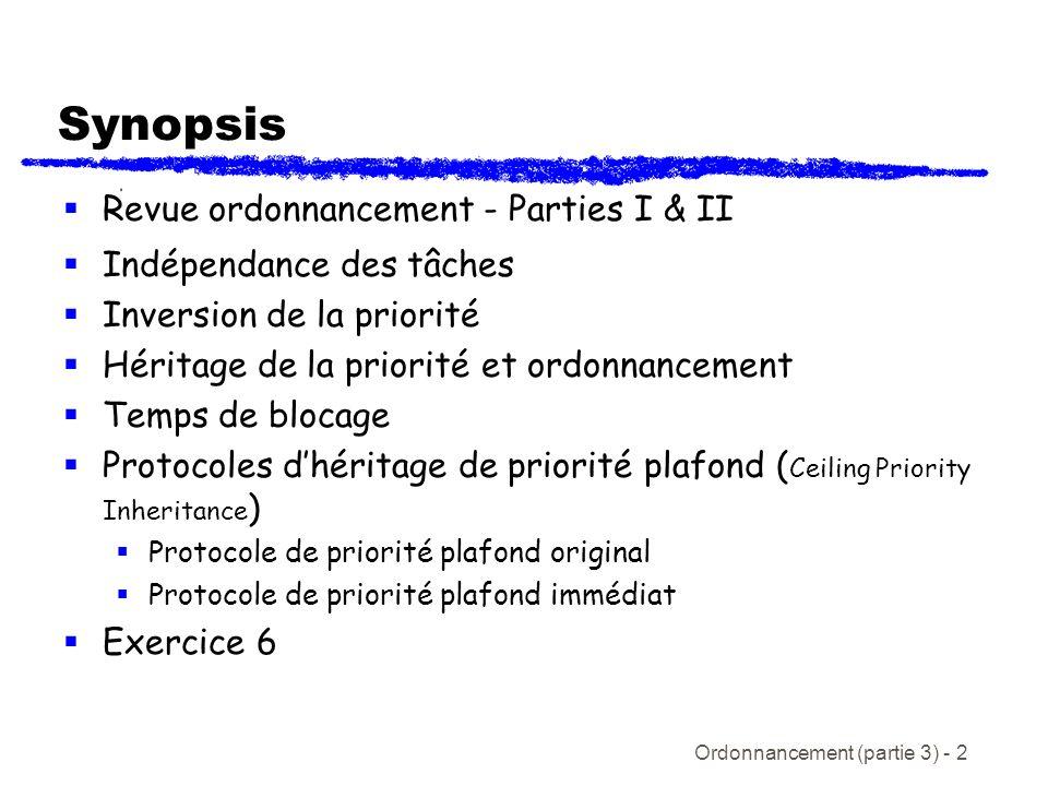 Synopsis Revue ordonnancement - Parties I & II Indépendance des tâches