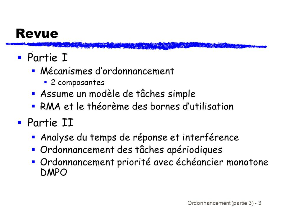 Revue Partie I Partie II Mécanismes d'ordonnancement