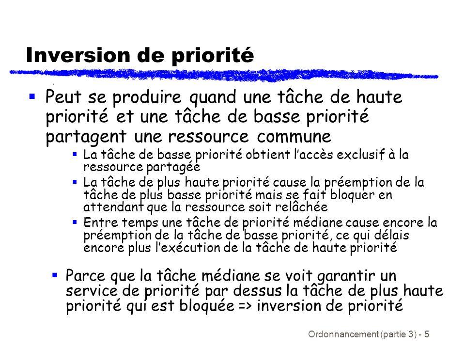 Inversion de priorité Peut se produire quand une tâche de haute priorité et une tâche de basse priorité partagent une ressource commune.