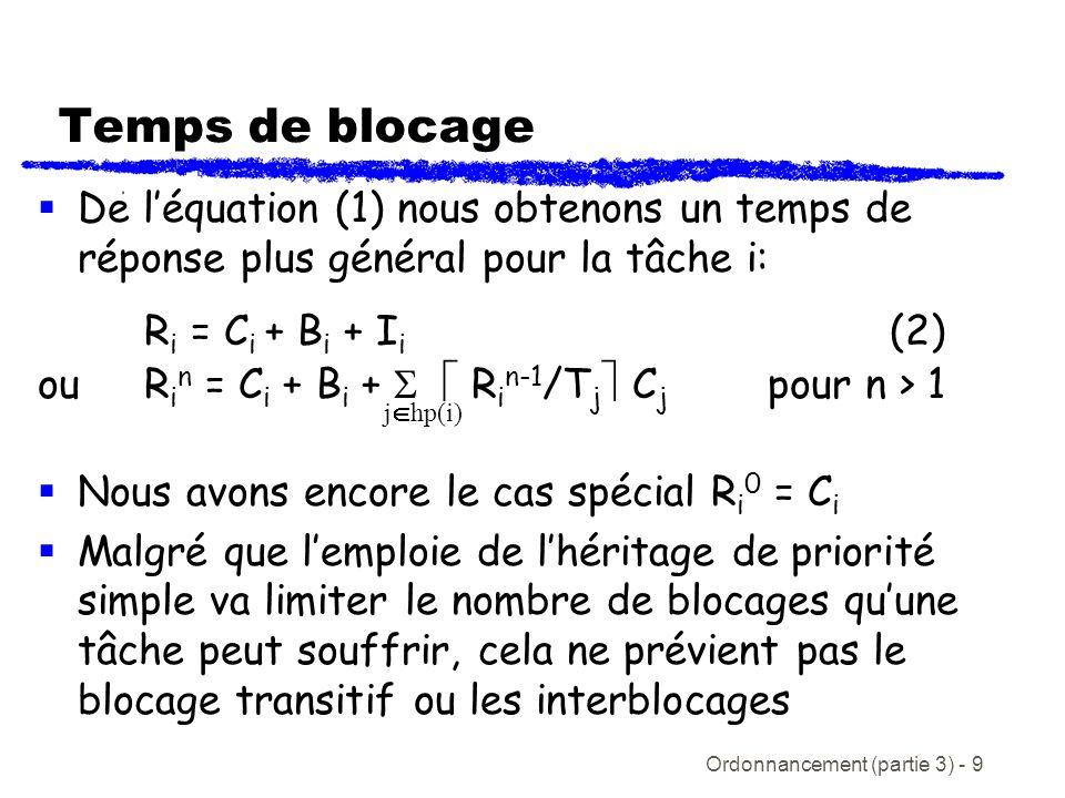 Temps de blocage De l'équation (1) nous obtenons un temps de réponse plus général pour la tâche i: Ri = Ci + Bi + Ii (2)