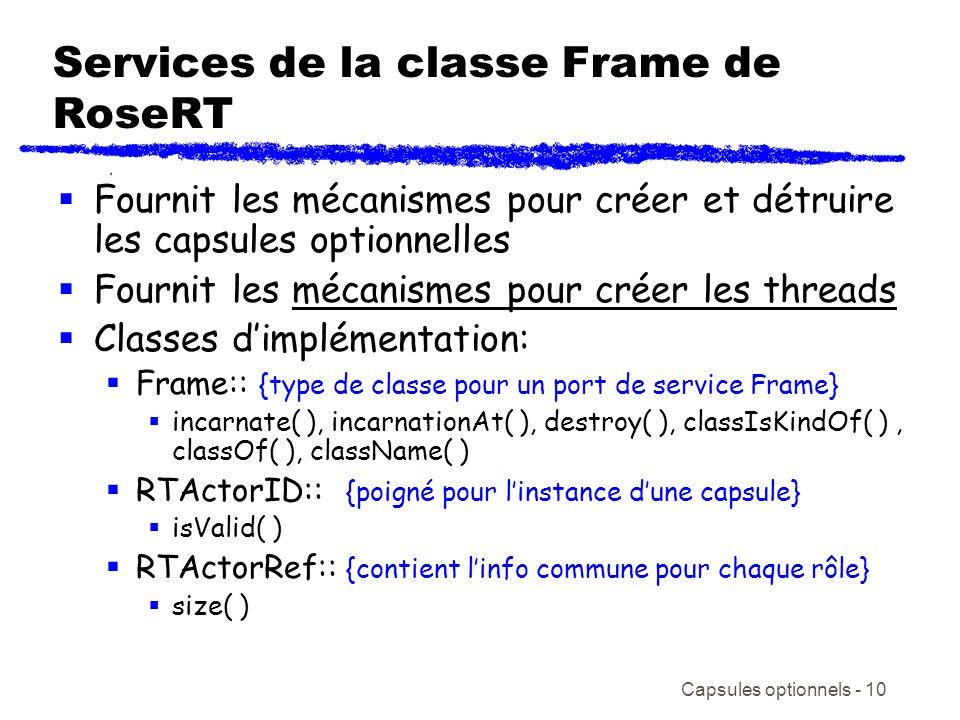 Services de la classe Frame de RoseRT