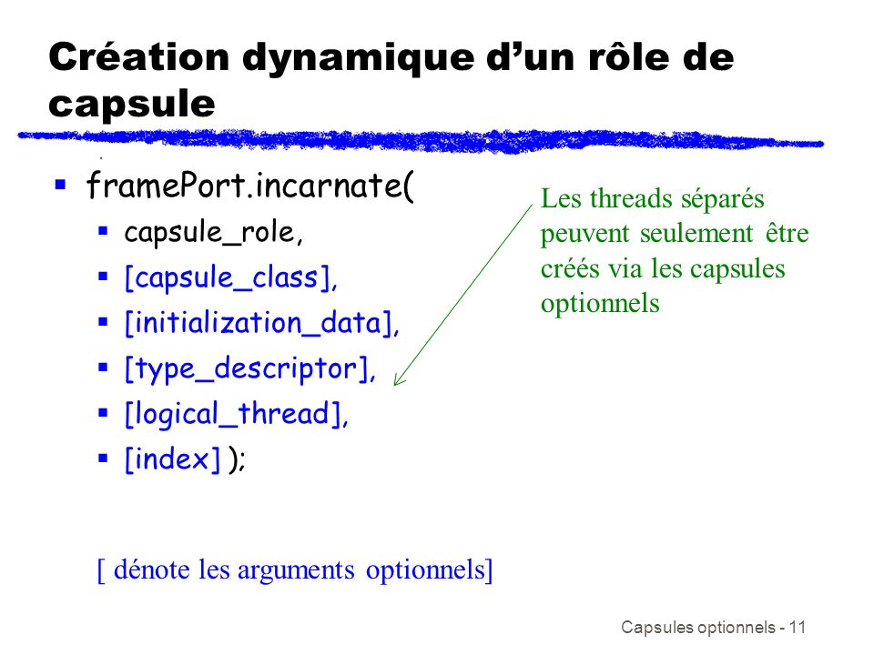 Création dynamique d'un rôle de capsule