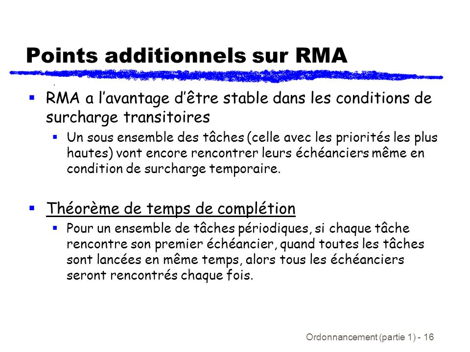 Points additionnels sur RMA
