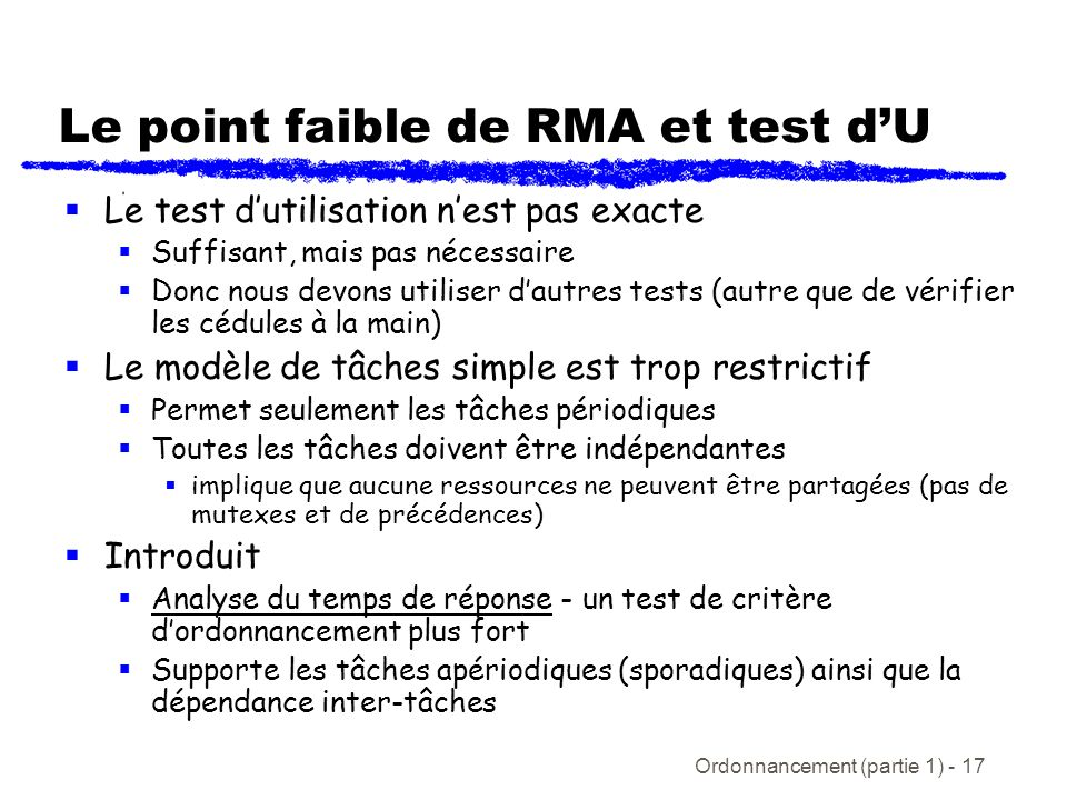 Le point faible de RMA et test d'U