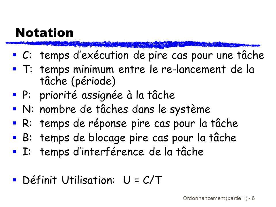 Notation C: temps d'exécution de pire cas pour une tâche