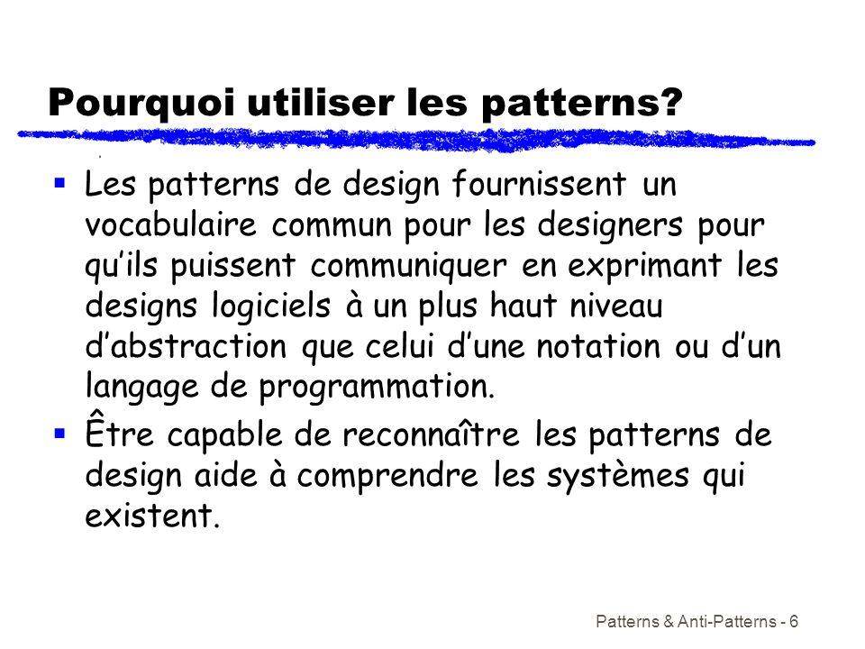 Pourquoi utiliser les patterns