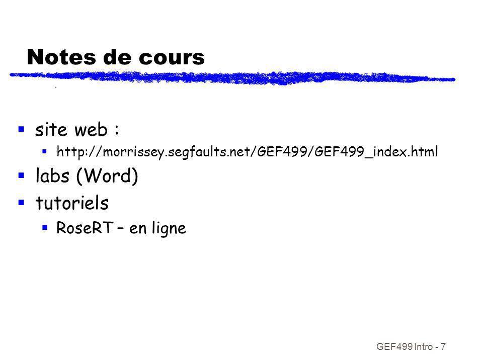 Notes de cours site web : labs (Word) tutoriels RoseRT – en ligne