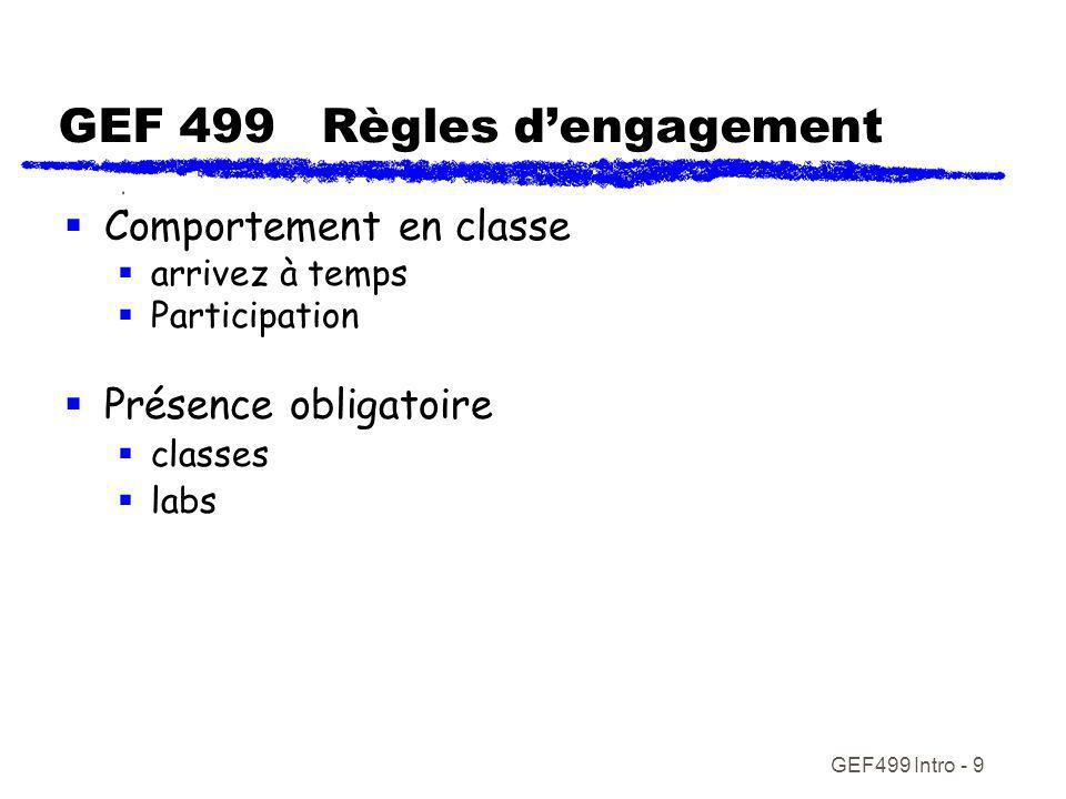 GEF 499 Règles d'engagement