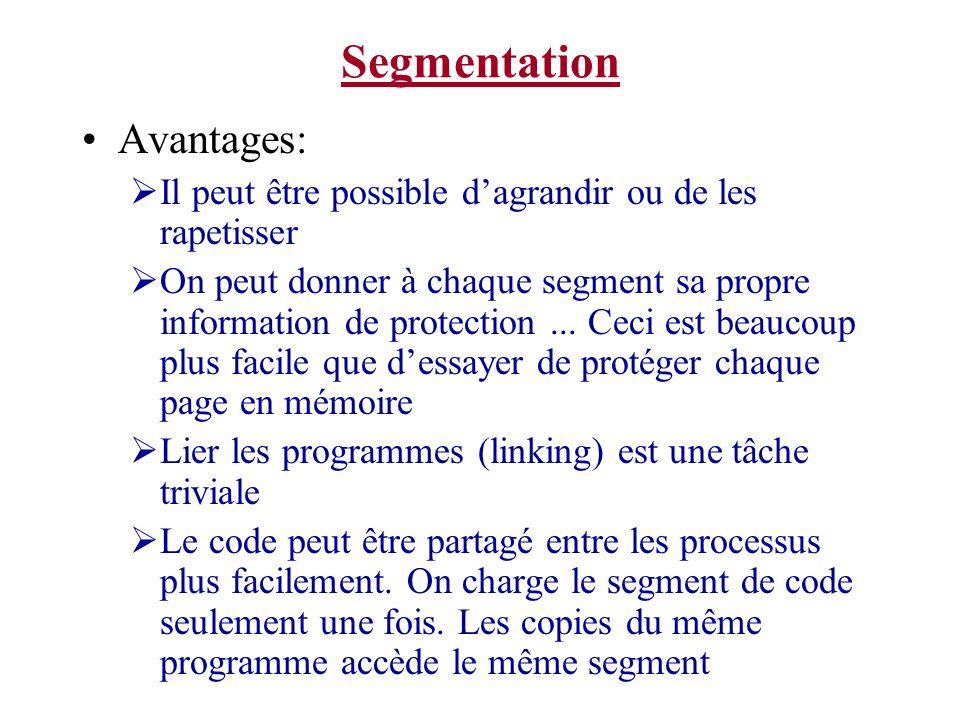 Segmentation Avantages: