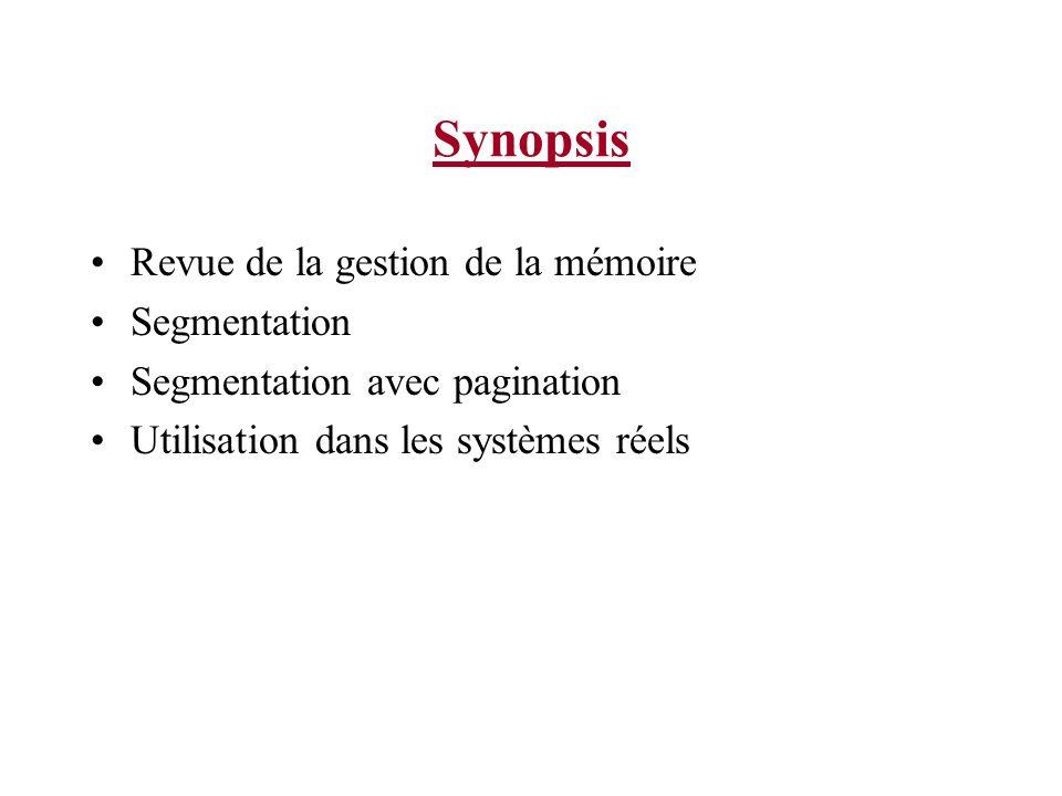 Synopsis Revue de la gestion de la mémoire Segmentation