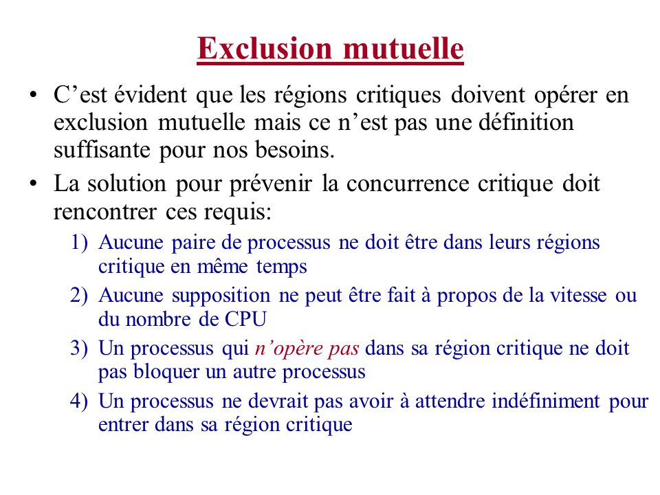 Exclusion mutuelle