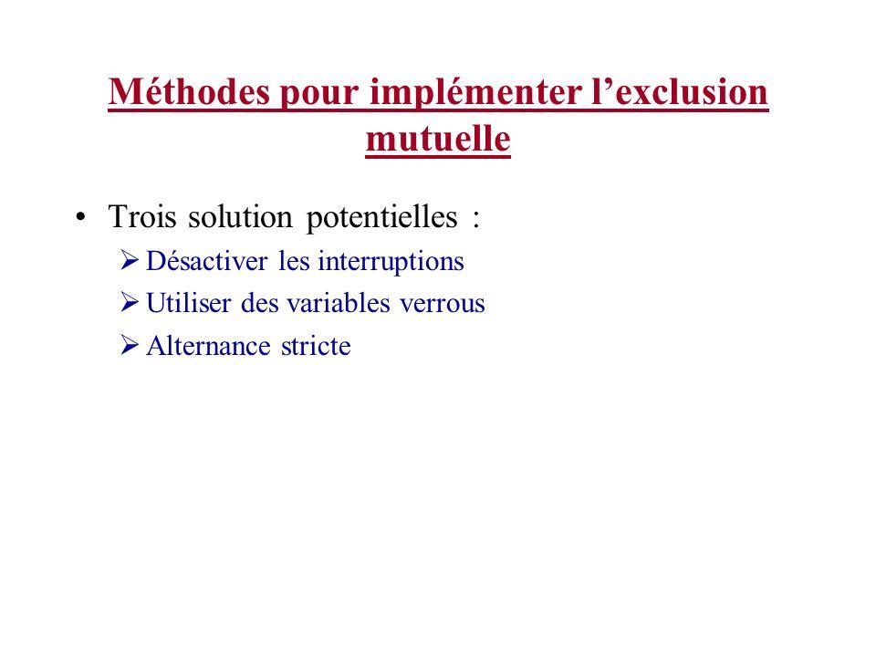 Méthodes pour implémenter l'exclusion mutuelle