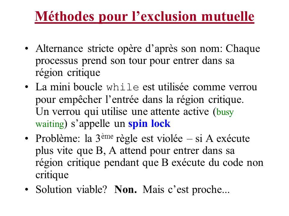 Méthodes pour l'exclusion mutuelle