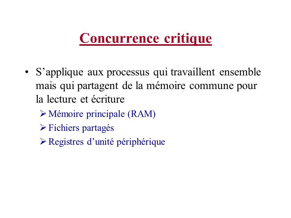 Concurrence critique S'applique aux processus qui travaillent ensemble mais qui partagent de la mémoire commune pour la lecture et écriture.