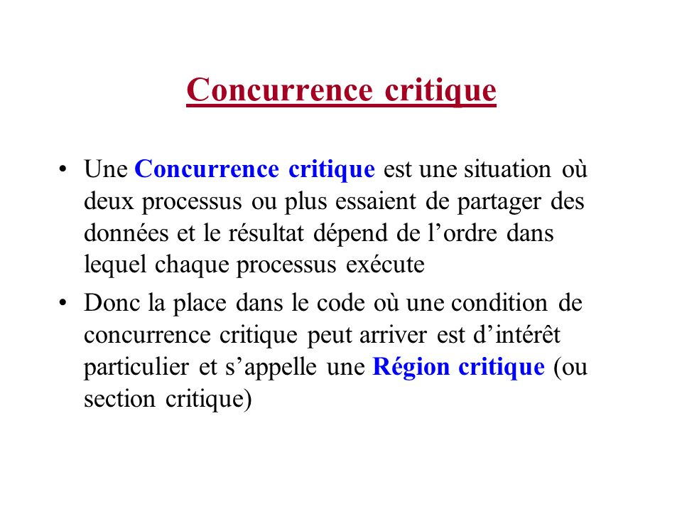 Concurrence critique