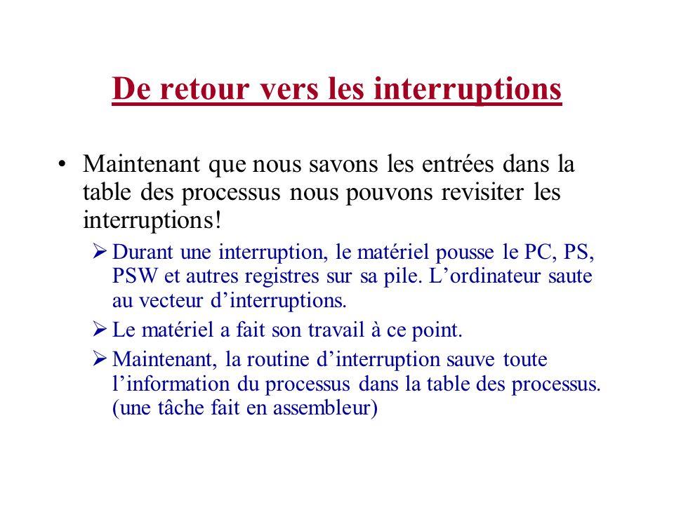 De retour vers les interruptions