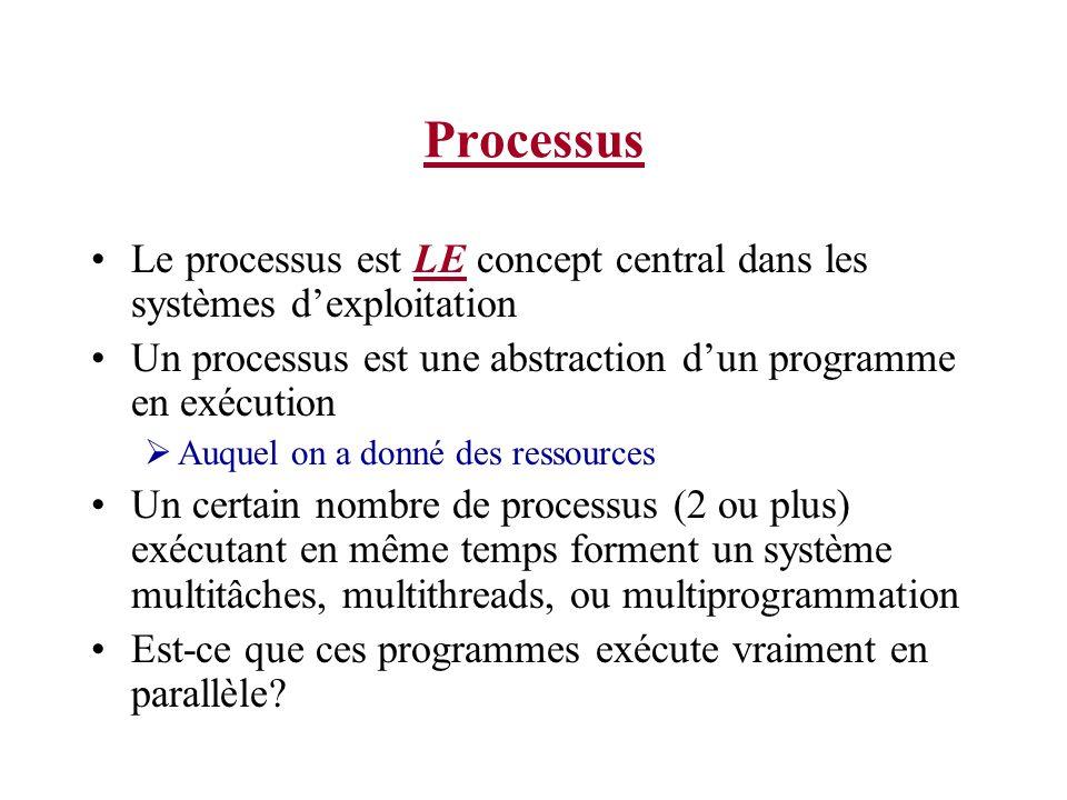 Processus Le processus est LE concept central dans les systèmes d'exploitation. Un processus est une abstraction d'un programme en exécution.