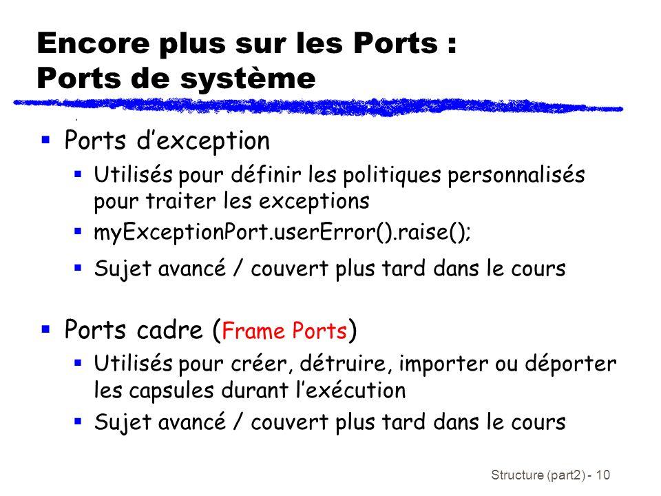 Encore plus sur les Ports : Ports de système