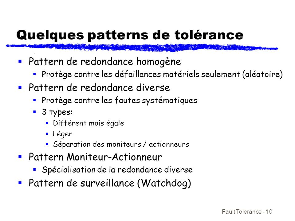 Quelques patterns de tolérance