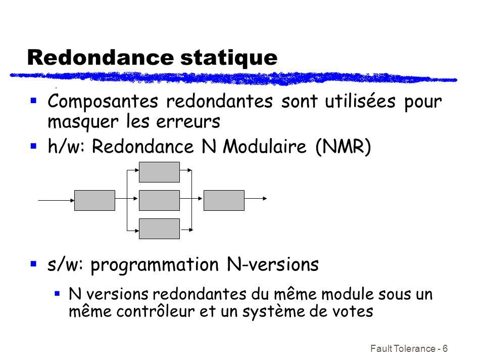 Redondance statique Composantes redondantes sont utilisées pour masquer les erreurs. h/w: Redondance N Modulaire (NMR)