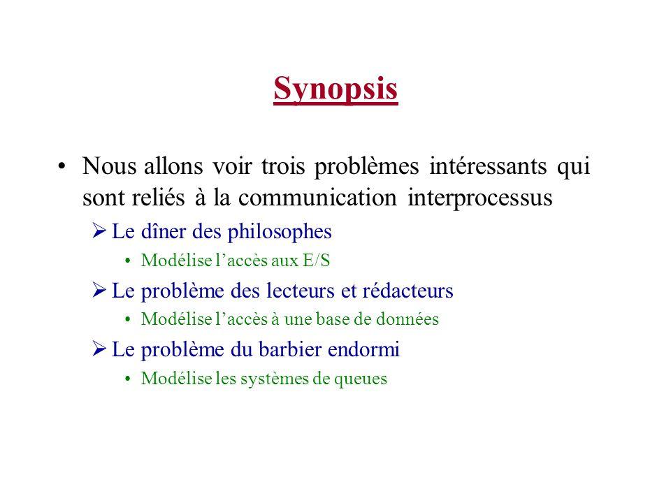 Synopsis Nous allons voir trois problèmes intéressants qui sont reliés à la communication interprocessus.