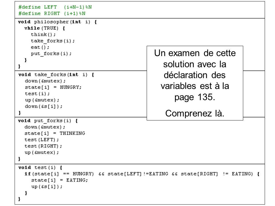 Un examen de cette solution avec la déclaration des variables est à la page 135.