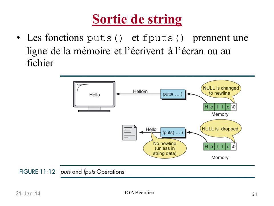 Sortie de string Les fonctions puts() et fputs() prennent une ligne de la mémoire et l'écrivent à l'écran ou au fichier.