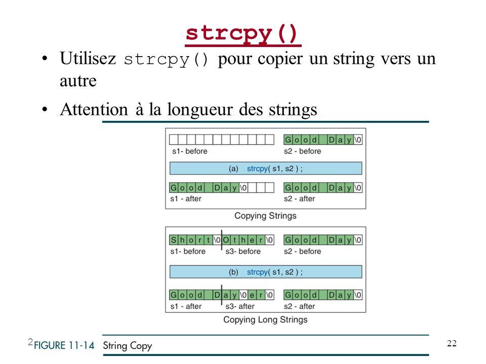 strcpy() Utilisez strcpy() pour copier un string vers un autre