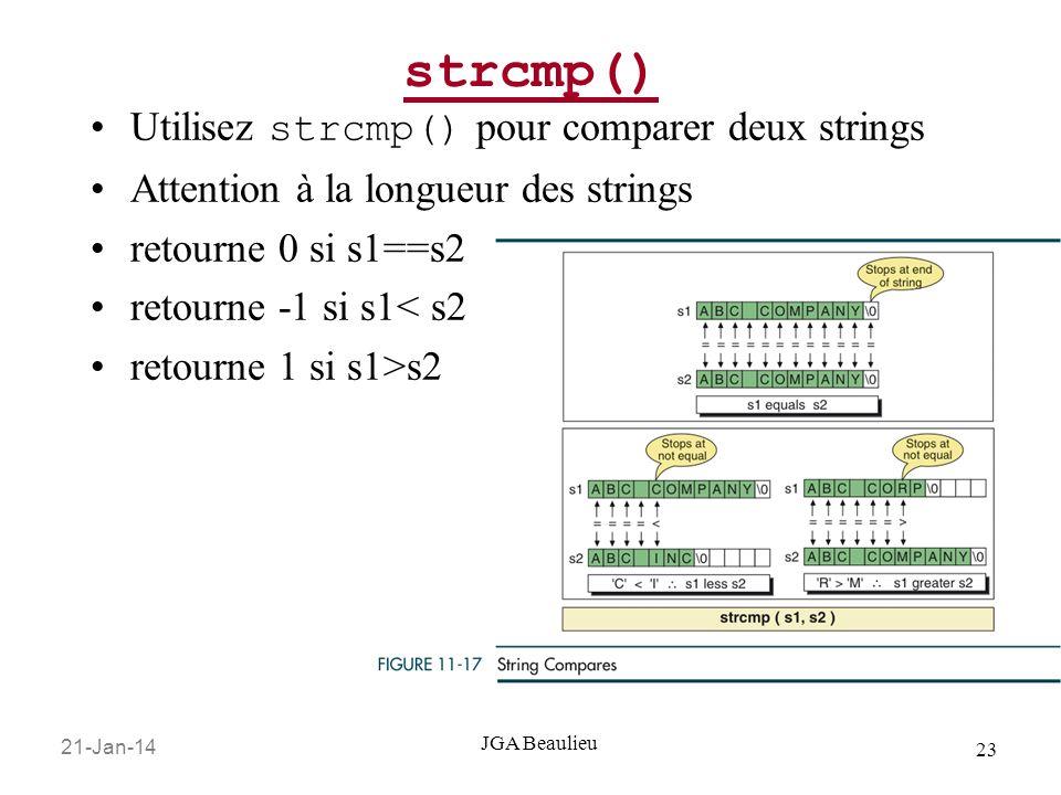strcmp() Utilisez strcmp() pour comparer deux strings
