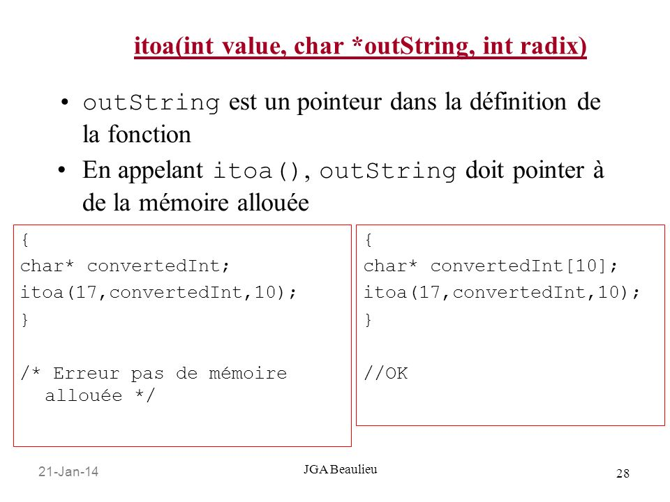 itoa(int value, char *outString, int radix)