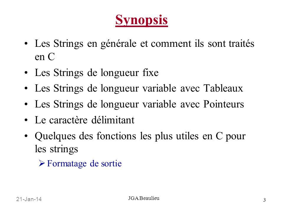 Synopsis Les Strings en générale et comment ils sont traités en C