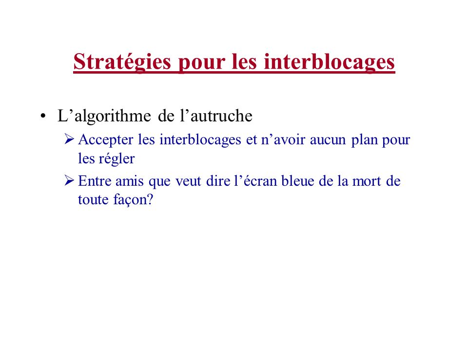Stratégies pour les interblocages