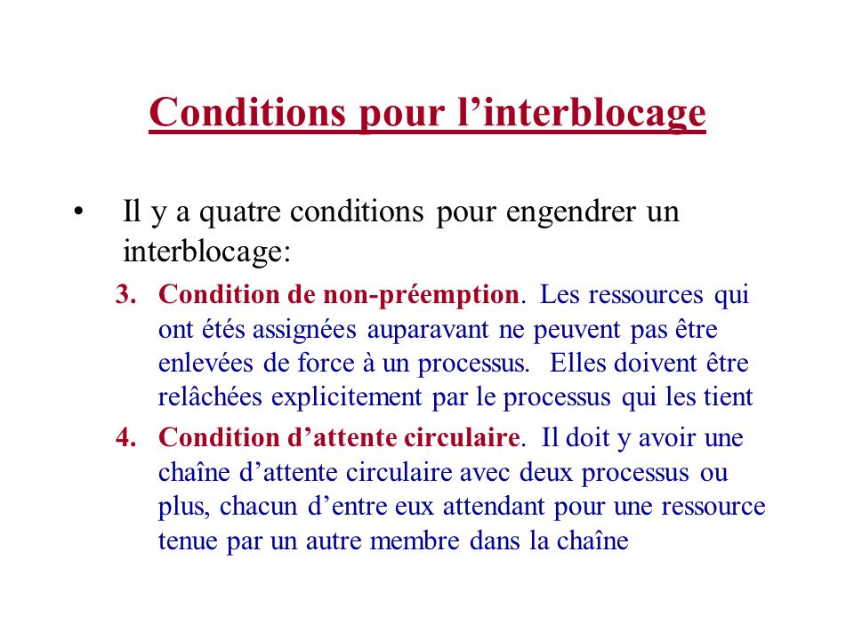 Conditions pour l'interblocage