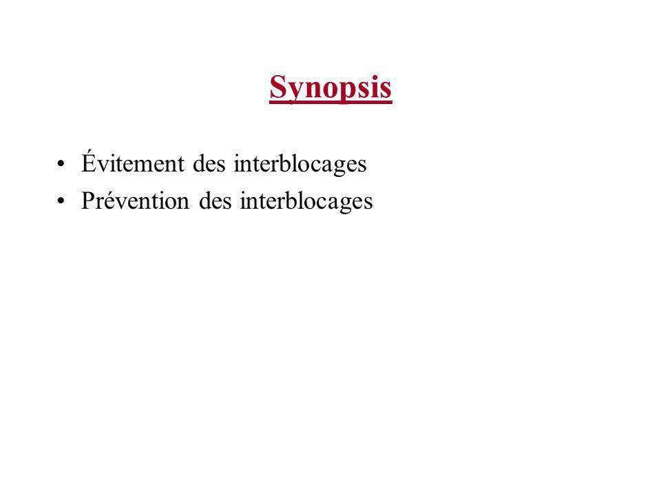 Synopsis Évitement des interblocages Prévention des interblocages