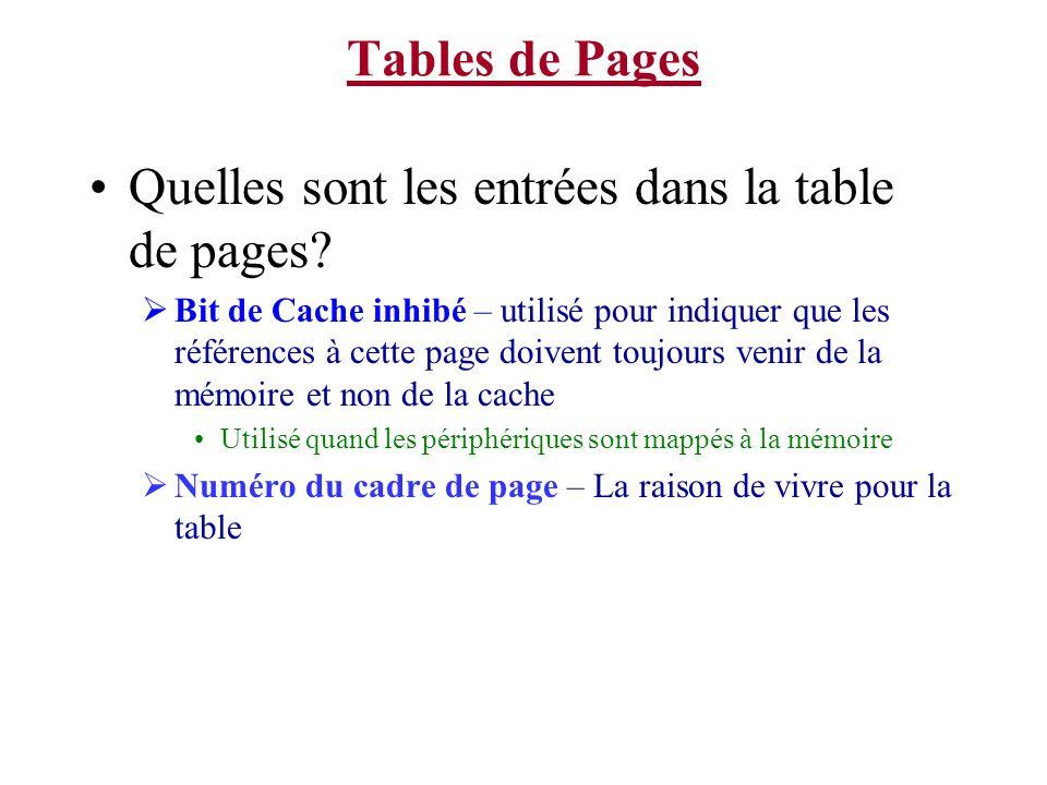 Quelles sont les entrées dans la table de pages