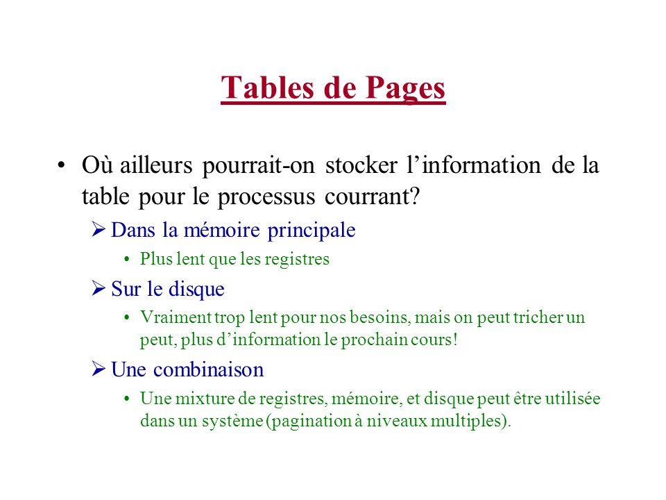 Tables de Pages Où ailleurs pourrait-on stocker l'information de la table pour le processus courrant