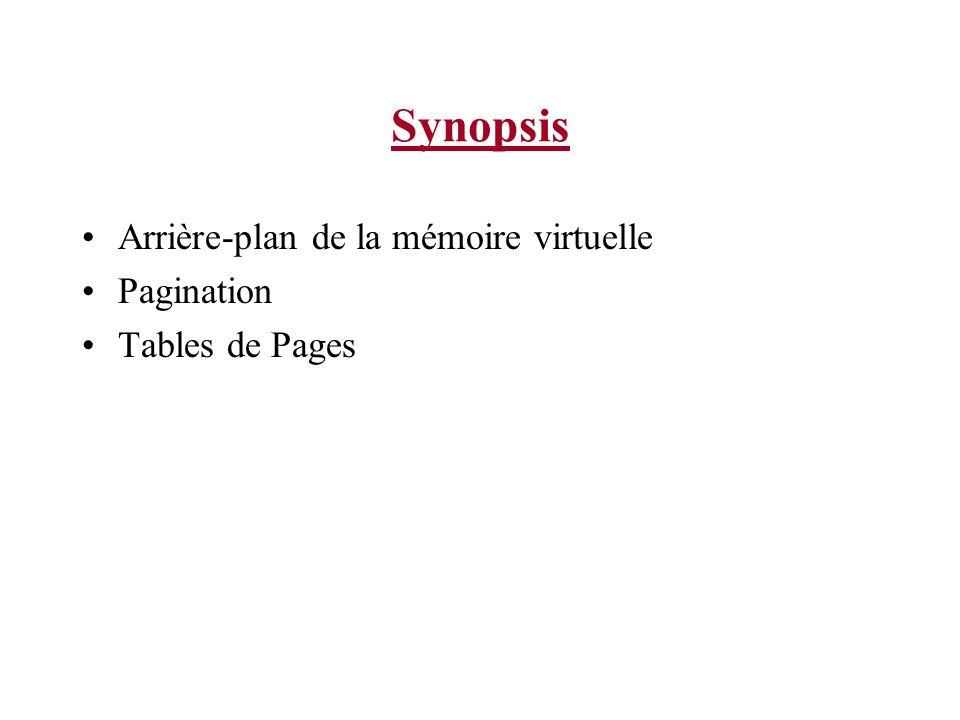 Synopsis Arrière-plan de la mémoire virtuelle Pagination