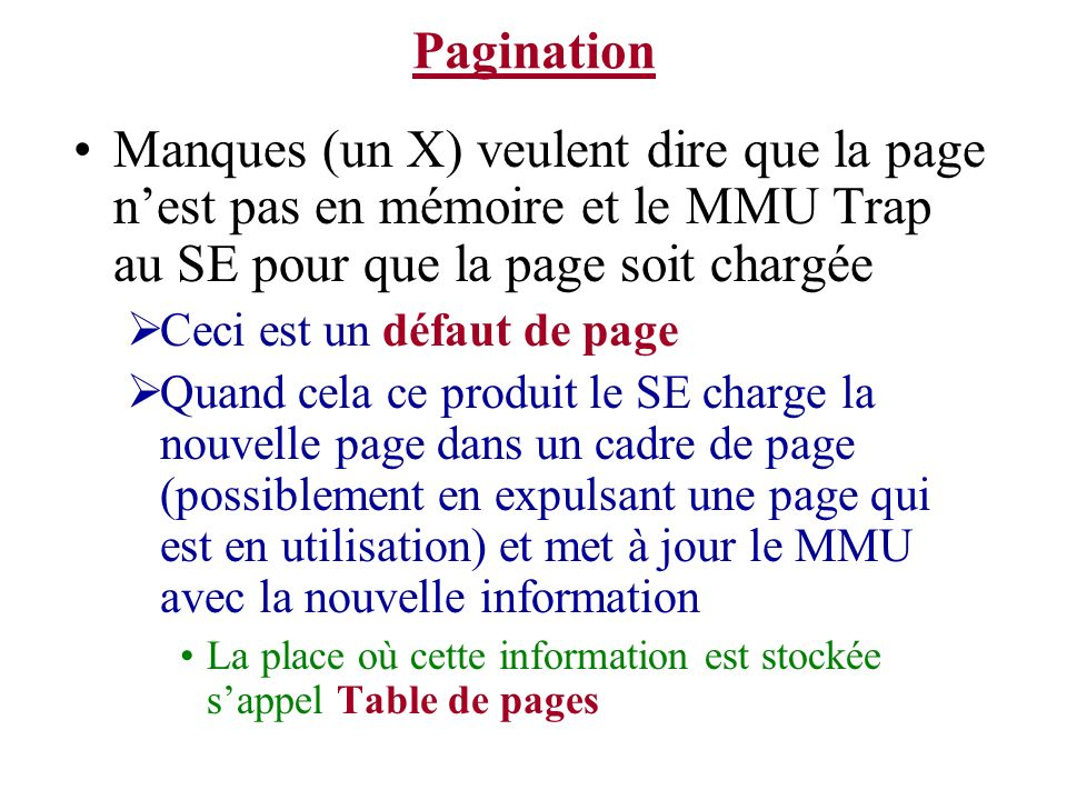 Pagination Manques (un X) veulent dire que la page n'est pas en mémoire et le MMU Trap au SE pour que la page soit chargée.