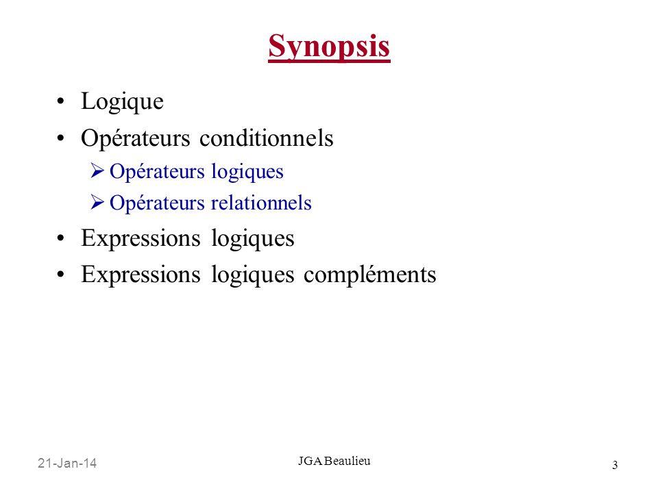 Synopsis Logique Opérateurs conditionnels Expressions logiques