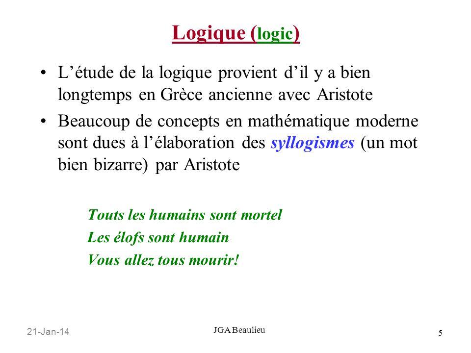 Logique (logic) L'étude de la logique provient d'il y a bien longtemps en Grèce ancienne avec Aristote.
