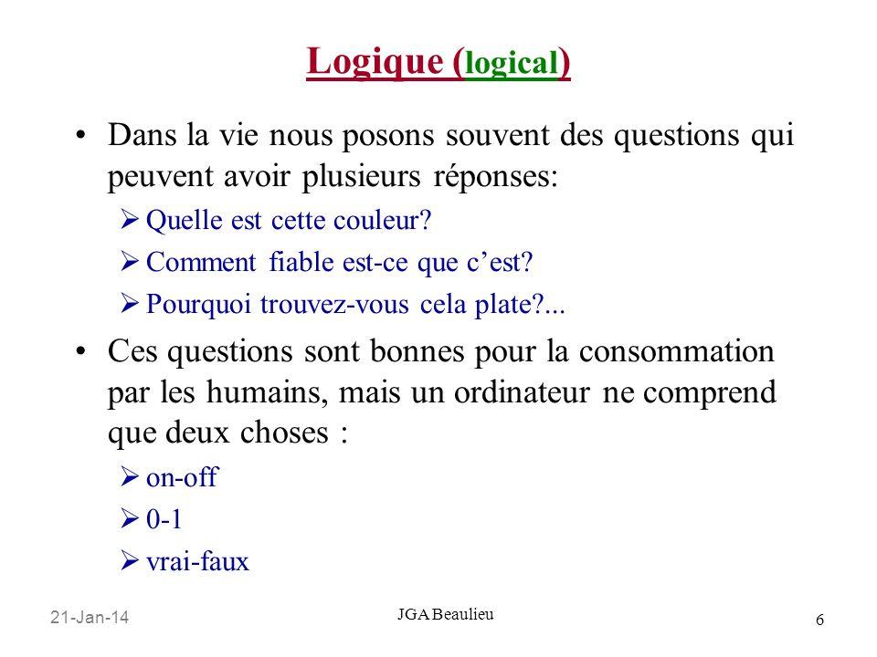 Logique (logical) Dans la vie nous posons souvent des questions qui peuvent avoir plusieurs réponses: