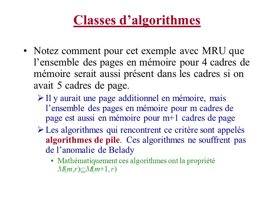 Classes d'algorithmes