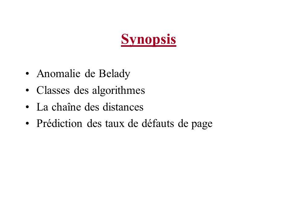 Synopsis Anomalie de Belady Classes des algorithmes