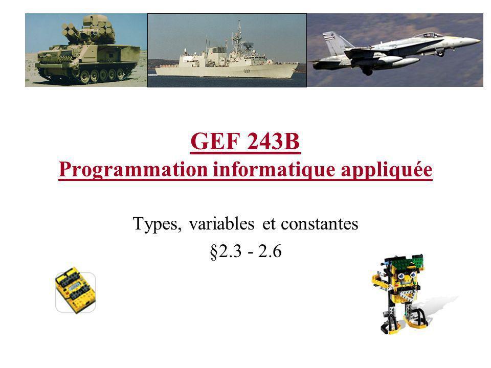 GEF 243B Programmation informatique appliquée