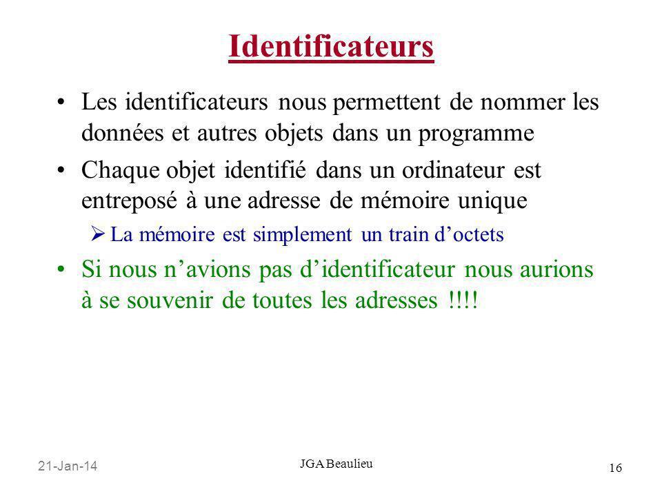 Identificateurs Les identificateurs nous permettent de nommer les données et autres objets dans un programme.