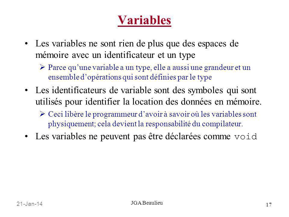 Variables Les variables ne sont rien de plus que des espaces de mémoire avec un identificateur et un type.