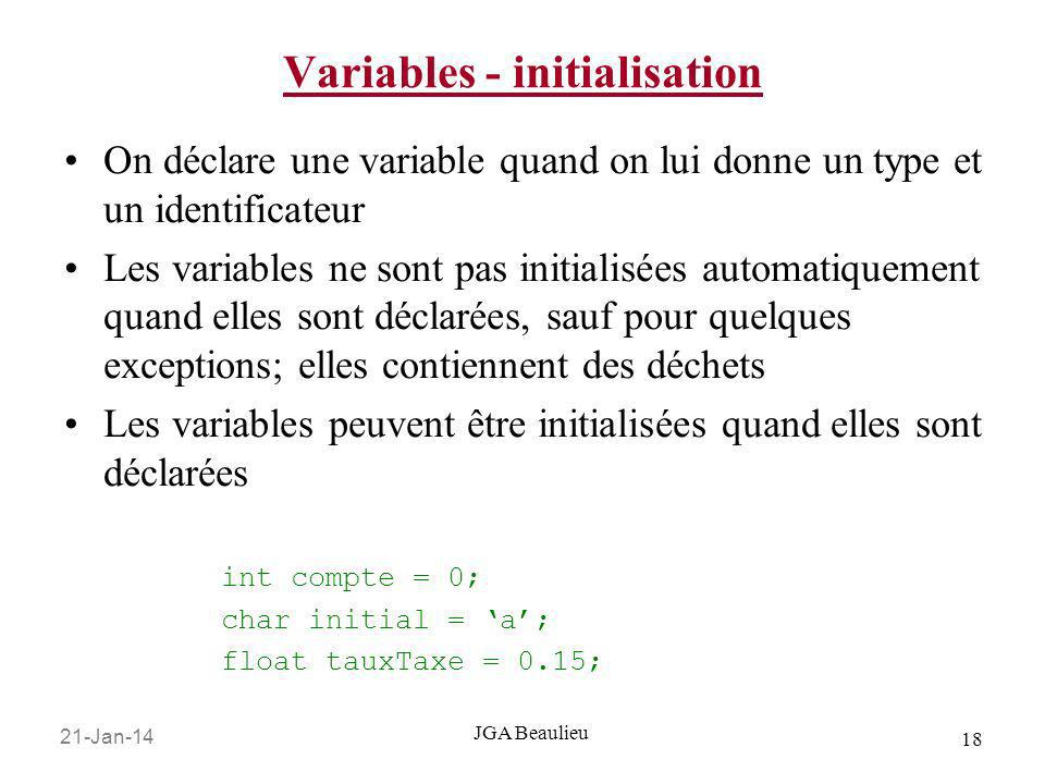 Variables - initialisation